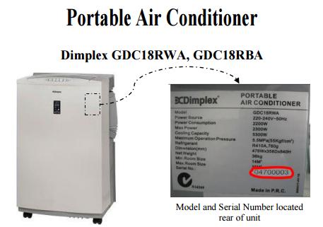 product recall glen dimplex australia pty ltd portable air conditioner models gdc18rwa. Black Bedroom Furniture Sets. Home Design Ideas